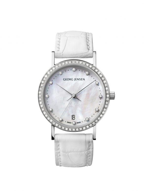 georg jensen koppel mother of pearl diamond set dial with white alligator strap