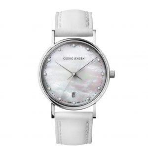 georg jensen koppel mother of pearl diamond set dial ladies watch