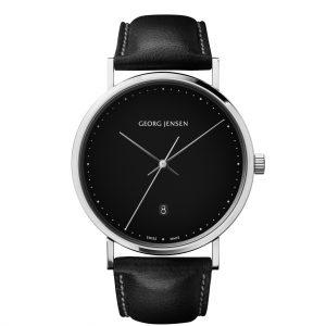 georg jensen koppel 41 mm black dial black strap watch