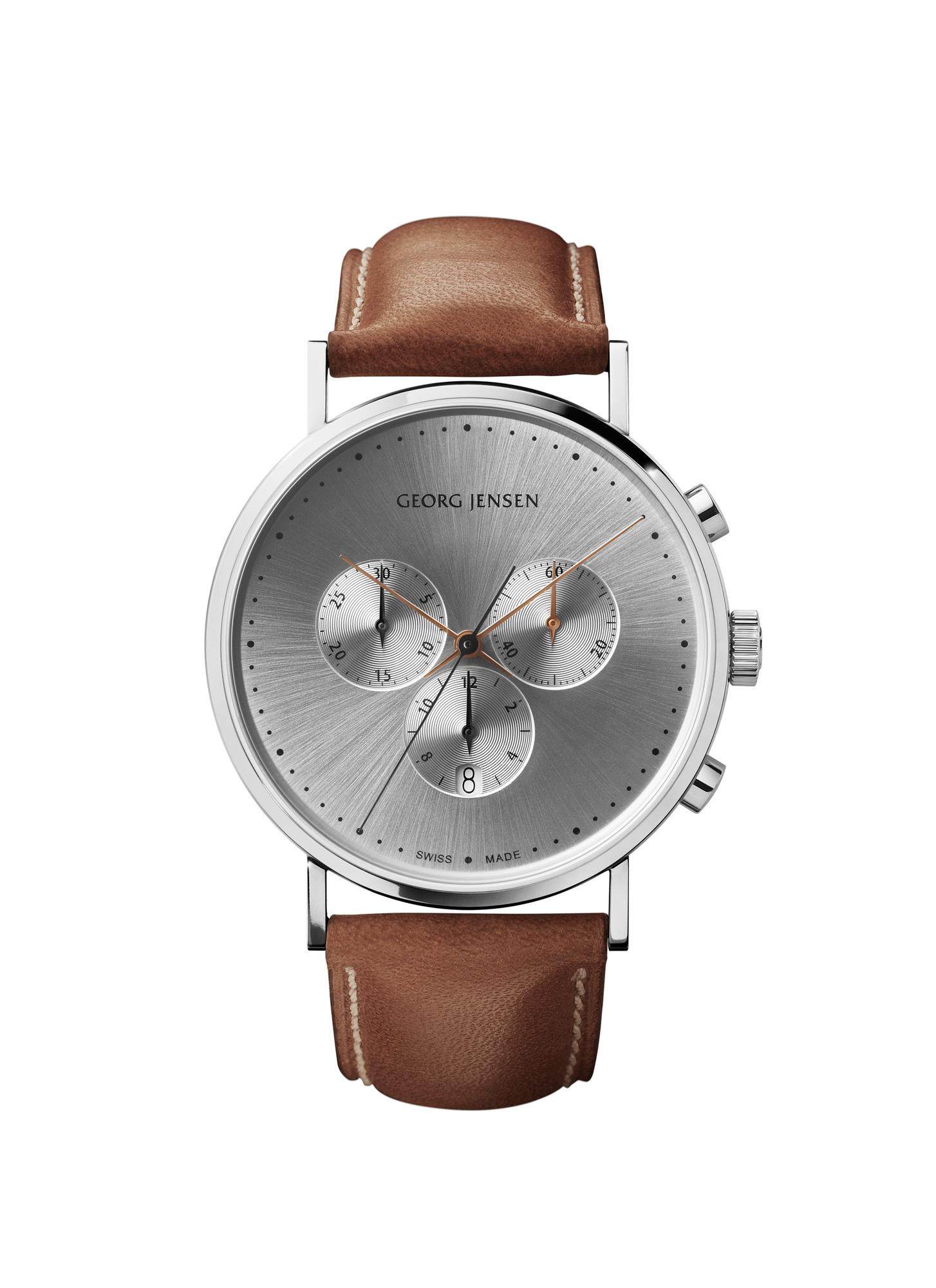 georg jensen koppel 41 mm silver chronograph dial watch with tan strap