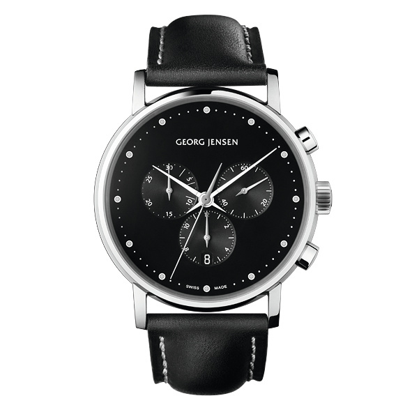 georg jensen koppel 517 black chronograph dial watch