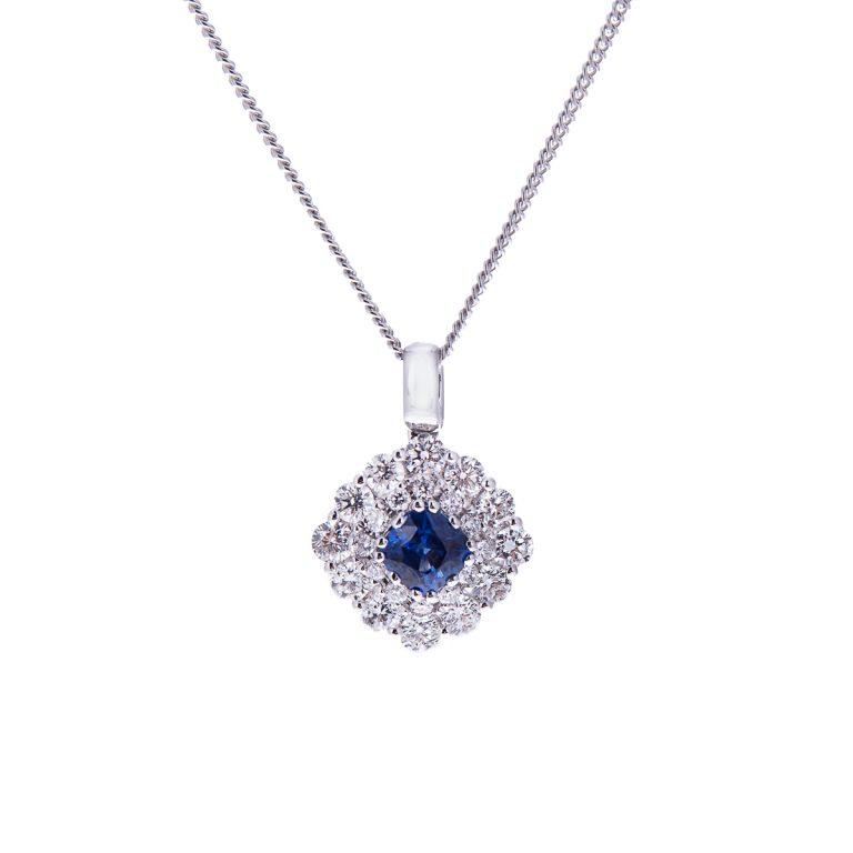 H 171019 1 sapphire and diamond double halo pendant