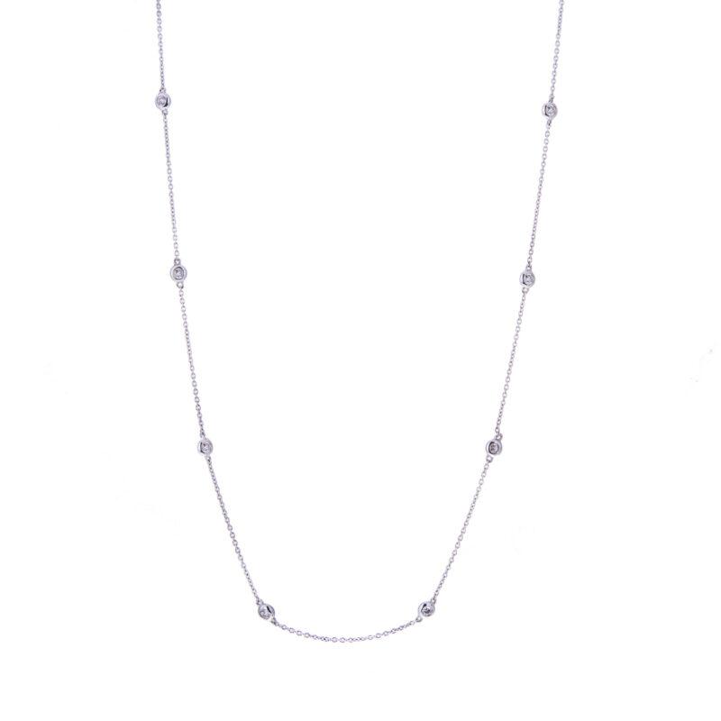 white gold diamond set necklet