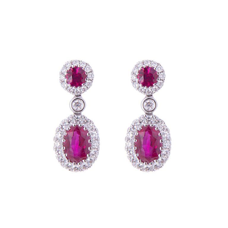 H 171019 19 double oval ruby and diamond drop earrings hancocks jewellers