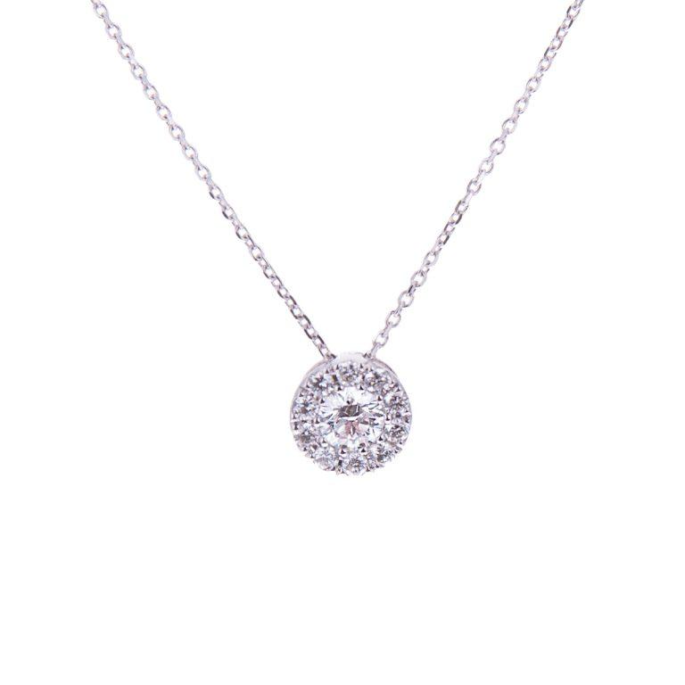 H 171019 2 18ct white gold diamond pendant and chain