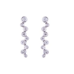 bubble design diamond drop earrings
