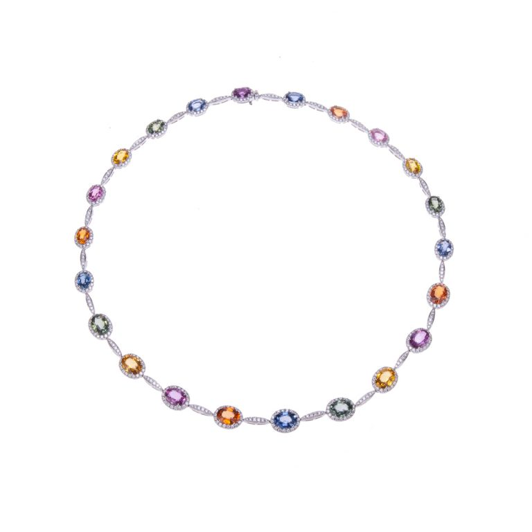 H 171019 23 multi coloured sapphire and diamond necklet