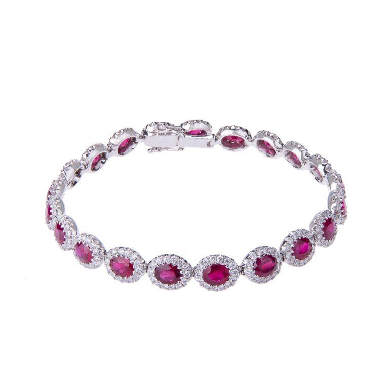 H 171019 26 ruby and diamond halo set bracelet
