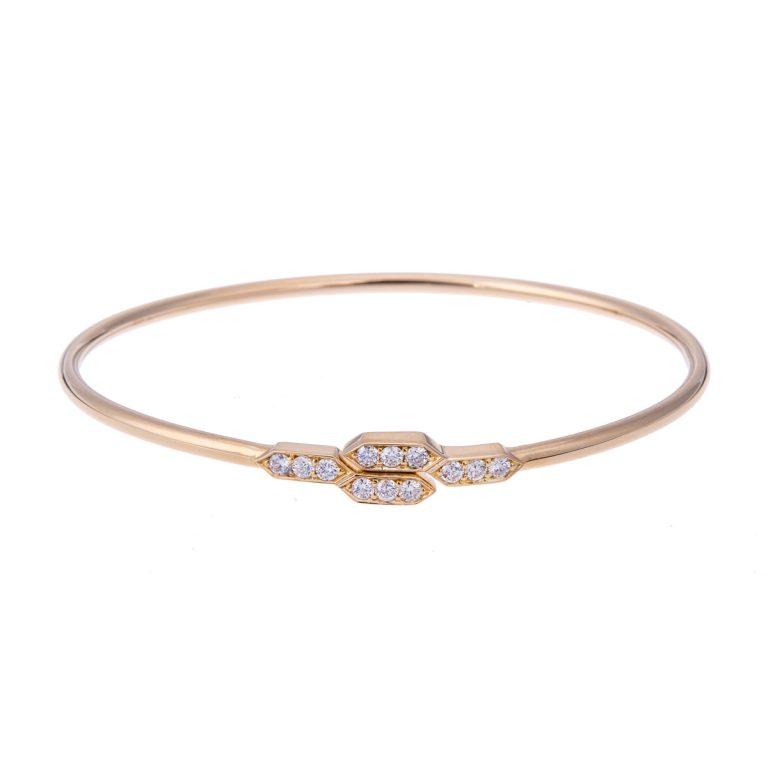 H 171019 29 18ct yellow gold diamond set bangle hancocks manchester