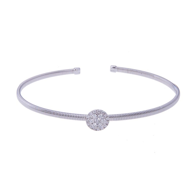 H 171019 30 diamond set flexible 18ct white gold bangle