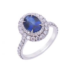 H 171019 38 sapphire and diamond oval cluster engagement ring