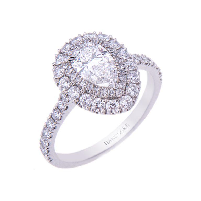 H 171019 41 platinum pear cut diamond cluster ring