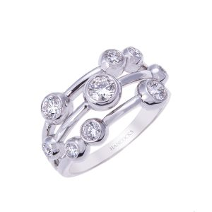 Three-row bubble dress ring