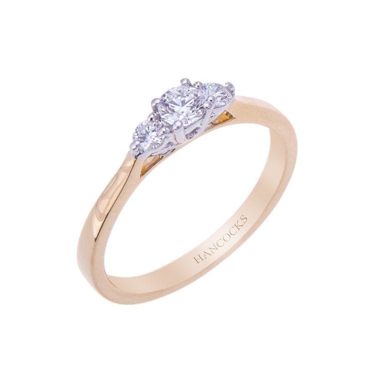 H 171019 46 brilliant cut diamond 3 stone engagement ring hancocks manchester