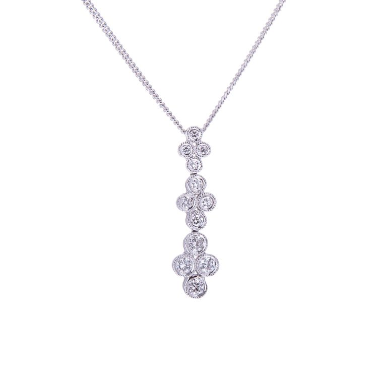 H 171019 9 diamond cascade pendant in white gold
