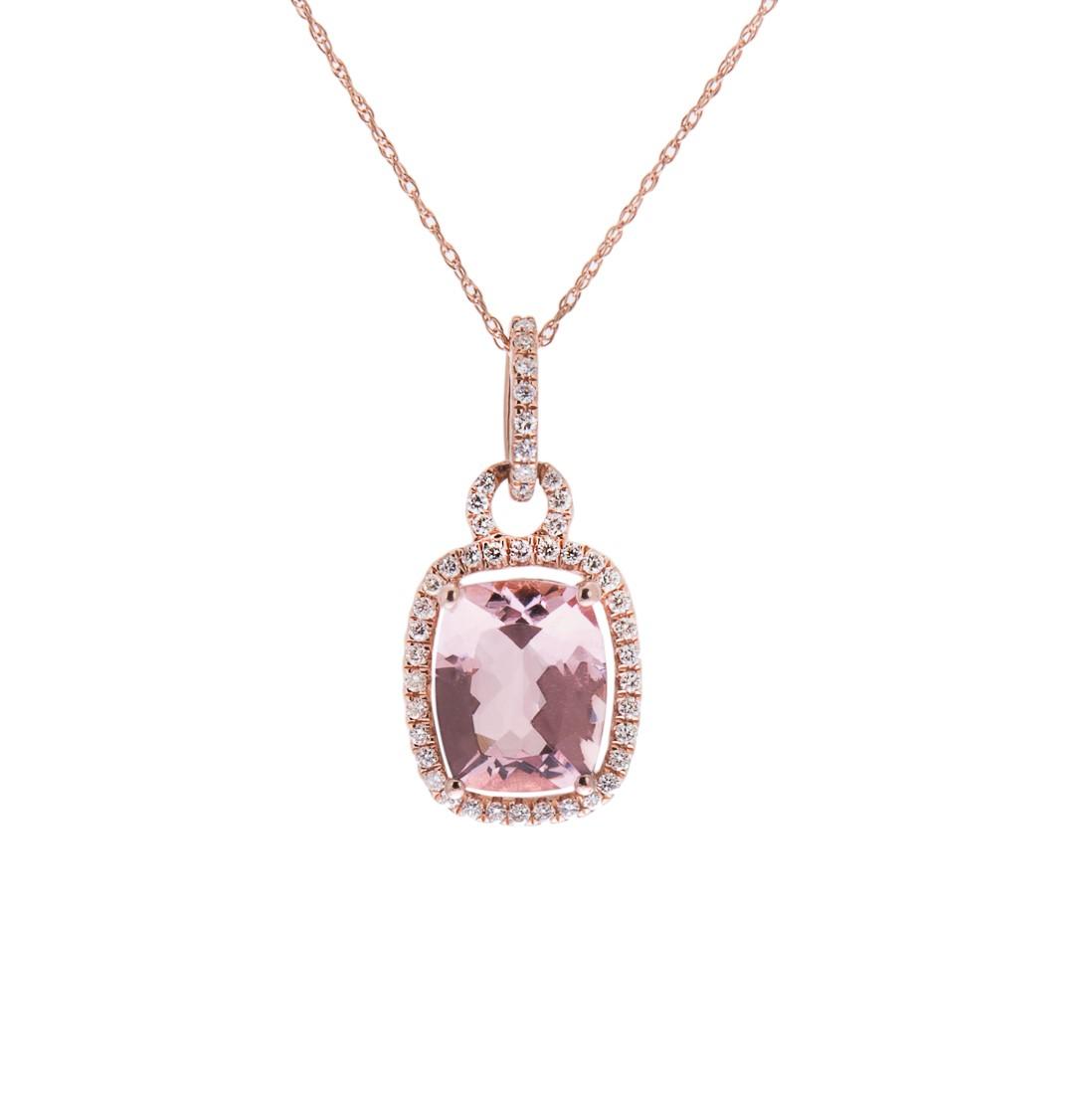 H1200 1rose gold morganite and diamond pendant   Copy