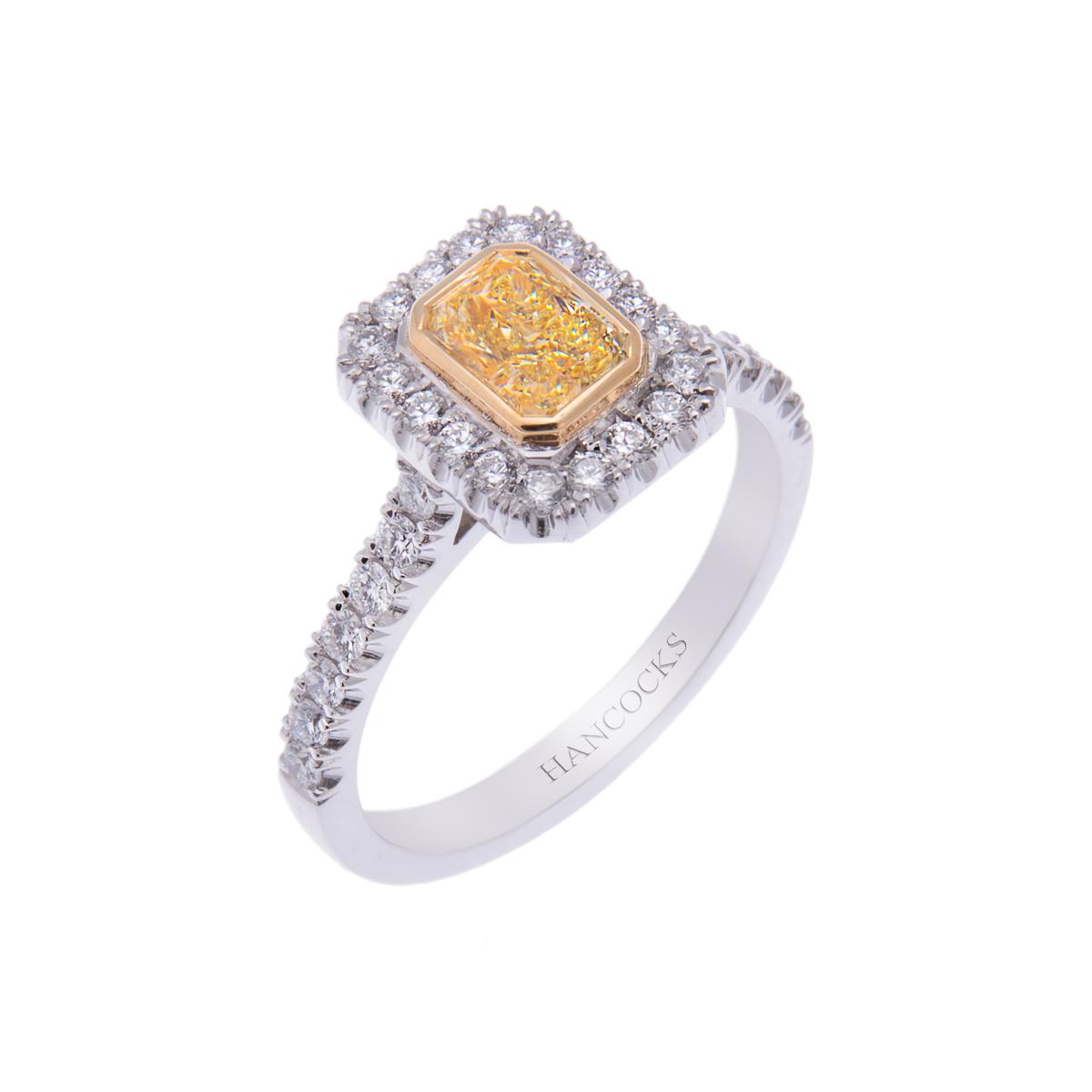 yellow diamond set ring