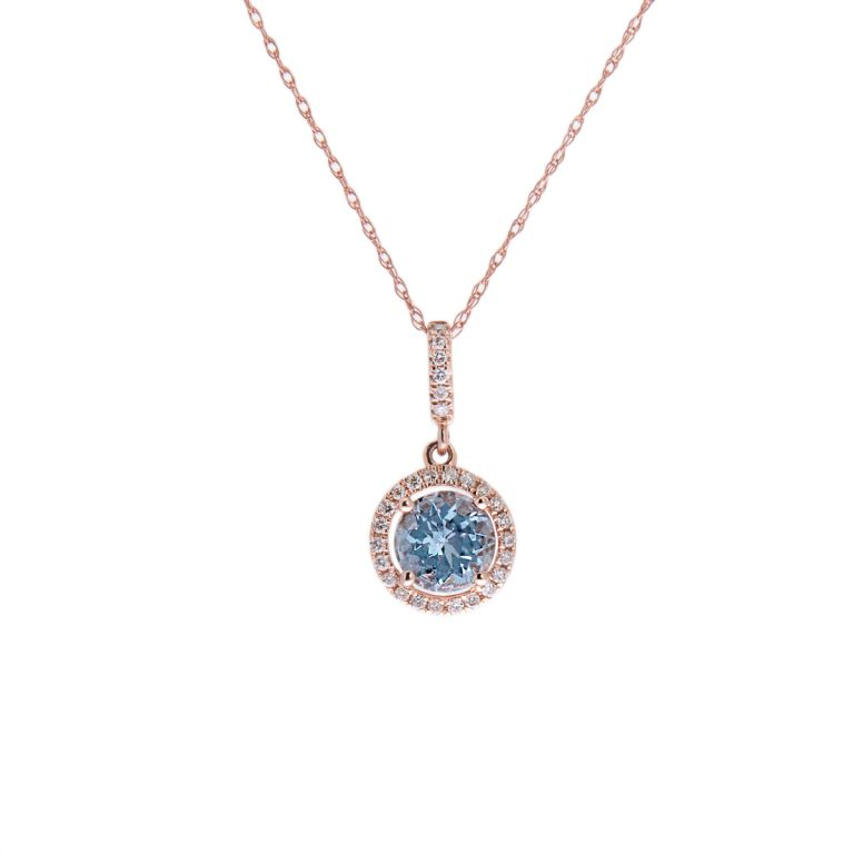 H1200 4 aquamarine and diamond round pendant