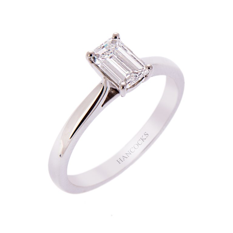 H140920 19 0.75ct emerald cut diamond engagement ring