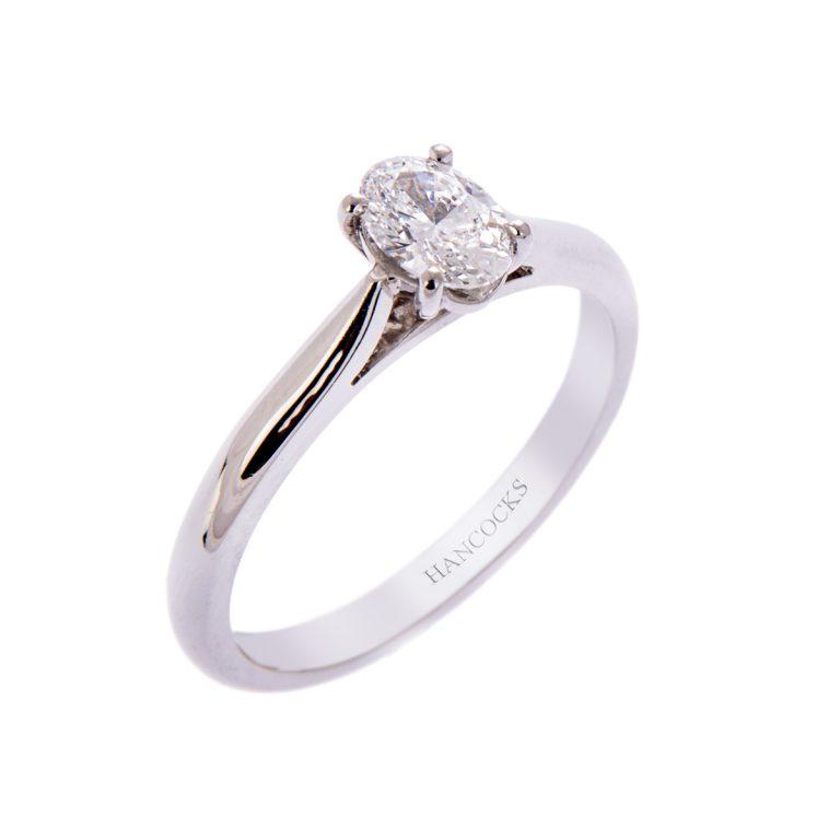 H140920 2 oval diamond single stone ring in platinum