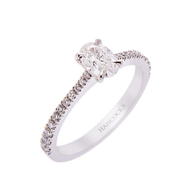 H140920 4 oval diamond engagement ring in platinum