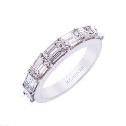 H140920 40 emerald cut diamond half eternity ring