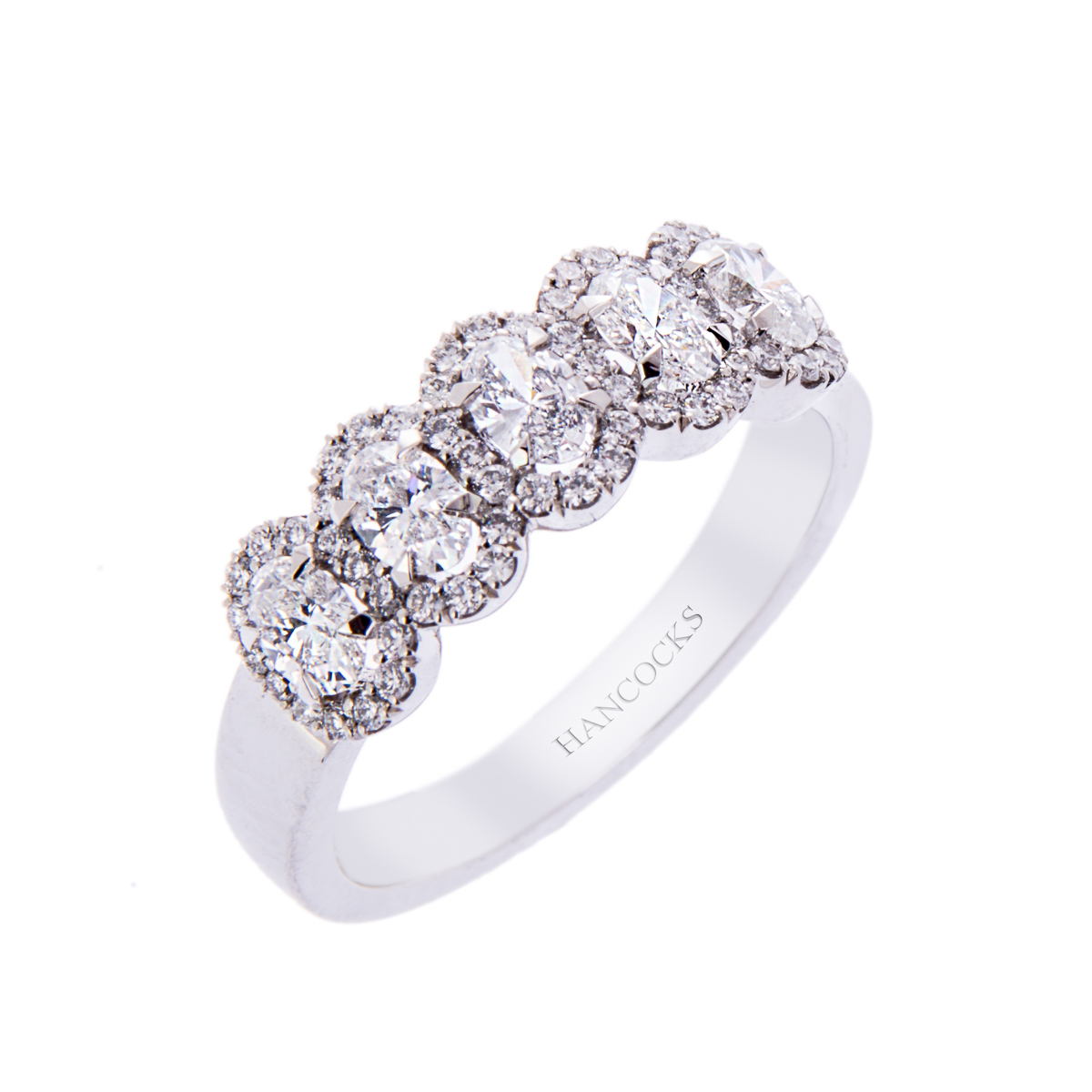 H140920 45 oval diamond 5 stone halo eternity ring