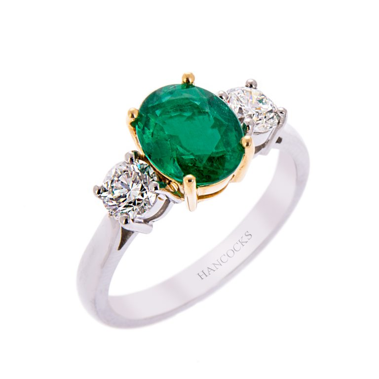 H140920 50 oval emerald and diamond 3 stone ring