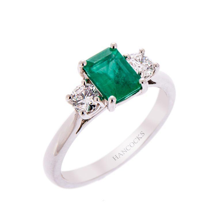 H140920 51 platinum emerald and diamond trilogy ring