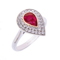 H140920 57A ruby and diamond pear cut cluster ring