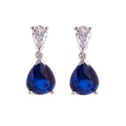 H140920 62 sapphire and pear cut diamond earrings