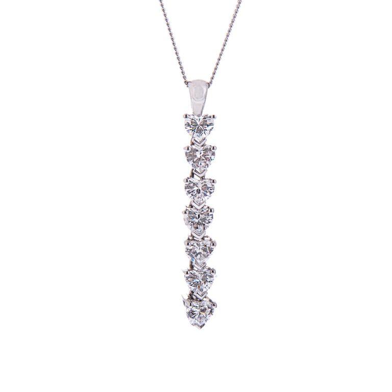 H140920 65 heart shaped diamond drop pendant
