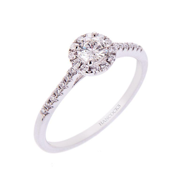 H140920 7 diamond halo set cluster ring