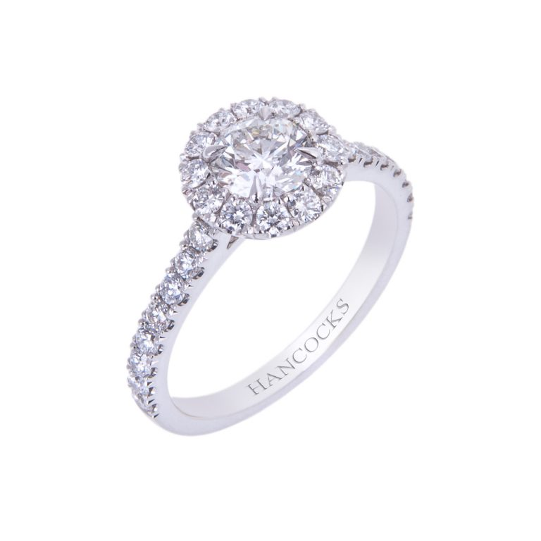 HA 15 brilliant cut diamond cluster ring in platinum