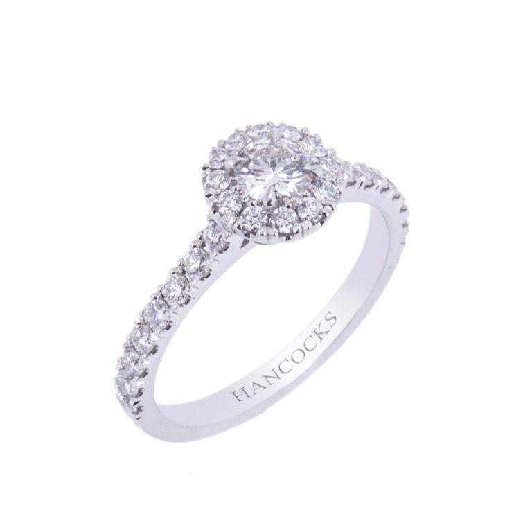 HA 5 platinum diamond cluster engement ring