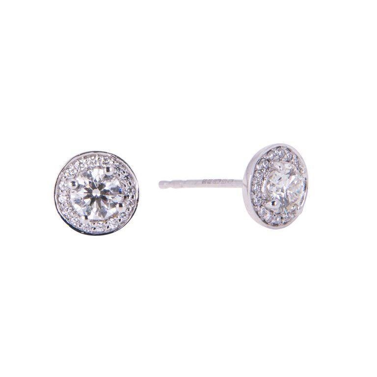 HRC 22 diamond halo studs