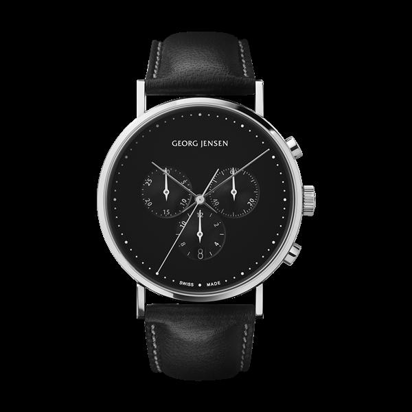 koppel 41 mm chronograph black dial black leather strap