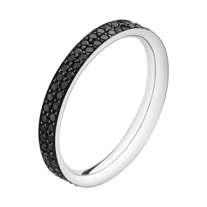 georg jensen magic 18 carat white gold and black pave' diamond ring