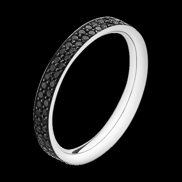 georg jensen magic 18 carat white gold and black pave' diamond ring