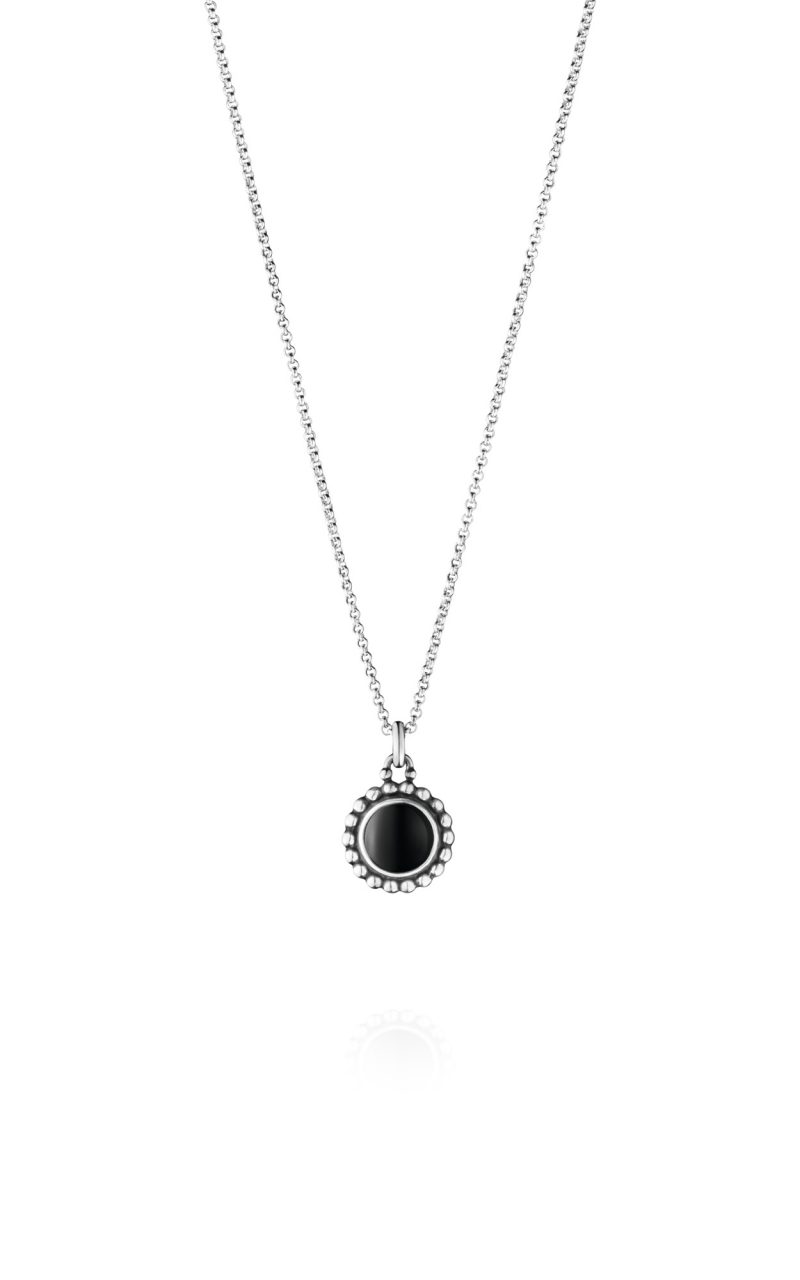 georg jensen moonlight blossom black onyx and silver drop pendant