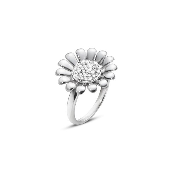 georg jensen silver and diamond set sunflower ring