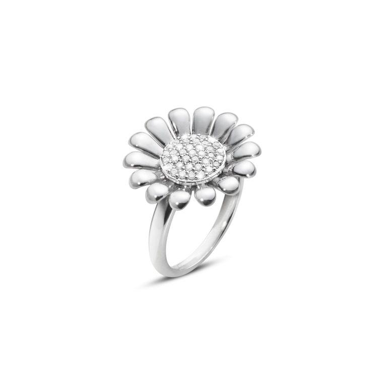 georg jensen silver and diamond set sunflower ring