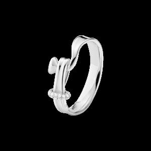 georg jensen torun silver ring with diamond accent