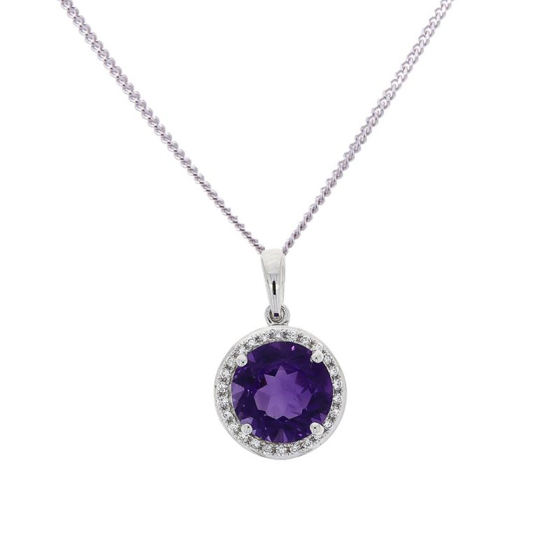 amethyst and diamond white gold pendant