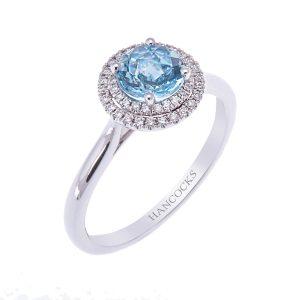 aqua and diamond engagement ring