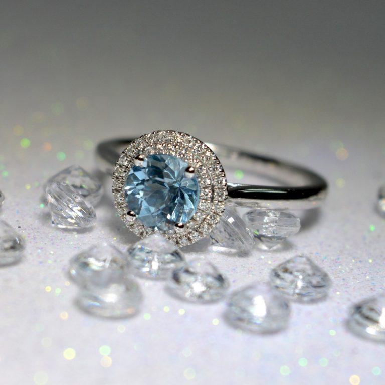 aqua and diamond ring
