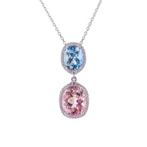 18ct white gold oval aquamarine and morganite pendant set with brilliant cut diamonds