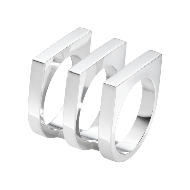 georg jensen Aria silver three row ring