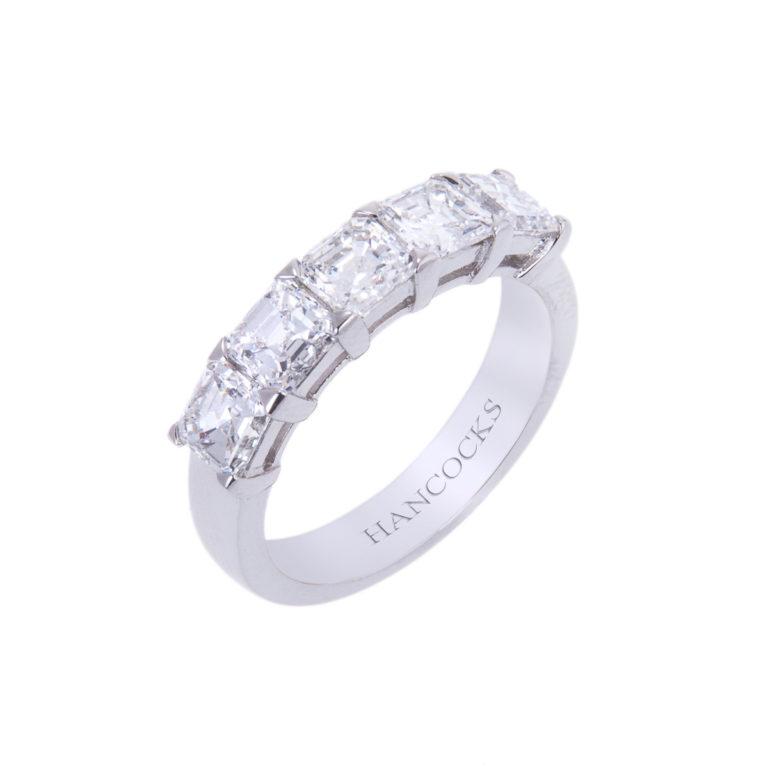 platinum asscher cut diamond eternity ring