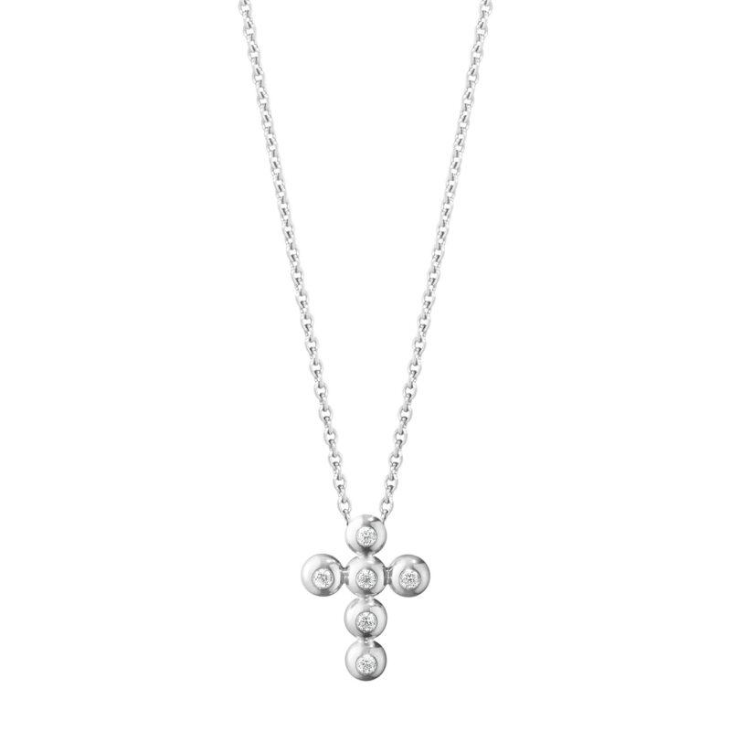 georg jensen aurora 18ct white gold diamond set cross shape pendant